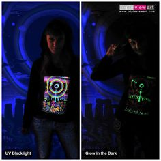 """""""Eclipse Over Stonehenge"""" UV Black Light Fluorescent & Glow In The Dark Psychedelic Art Womens Hoodie in Black, £28 in Tripleview Art Etsy Shop _____________________________ #psychedelic #psy #trance #psytrance #goatrance #rave #trippy #hippie #esoteric #mystic #spiritual #visionary #symbolism #UV #blacklight #fluorescent #fluoro #fluo #neon #glow #glowinthedark #phosphorescent #luminescent #art #hoodie #stonehenge #eclipse #rainbow #elves #goblins #party www.TripleviewArt.com"""