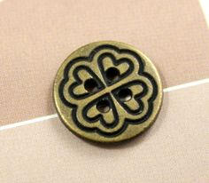 Hearts Flower Metal Buttons , Antique Brass Color , 4 Holes , 0.55 inch , 10 pcs  by Lyanwood, $3.50