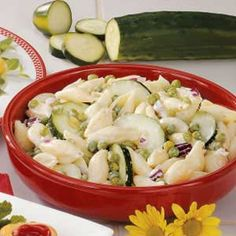 Cucumber Shell Salad 5 ingredient  pasta peas cucumber onion ranch salad dressing