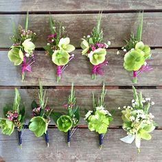 Wedding party button holes,  boutonnier's Wedding Buttonholes, Wedding Bouquets, Wedding Flowers, Boutonnieres, Button Holes Wedding, Bouquet Flowers, Different Flowers, Gothic Wedding, Flower Farm