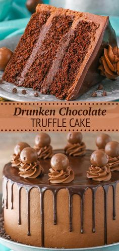 """This Drunken Chocolate Truffle Cake is made with a moist chocolate cake recipe, chocolate truffle filling & chocolate frosting – all infused with chocolate liqueur for a delicious """"drunken"""" cake! Chocolate Truffle Cake, Chocolate Liqueur, Chocolate Truffles, Chocolate Desserts, Chocolate Chocolate, Godiva Chocolate Cake Recipe, Baking Chocolate Cake, Chocolate Frosting For Cake, Cake Baking"""