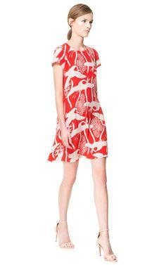 08f1d3e6 BIRD PRINT DRESS 459 Zara Egypt, Zara Dresses, Red Shorts, Zara Women,