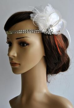 Flapper Feather Headband, The Great Gatsby Headband, 20s, Vintage Inspired, 1920's, Feather silver rhinestone headband on Etsy, $26.50