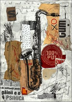 Fine art print illustration canvas gift Abstract Mixed media collage Jazz Music Saxophone autographed signed Ologeanu home decor