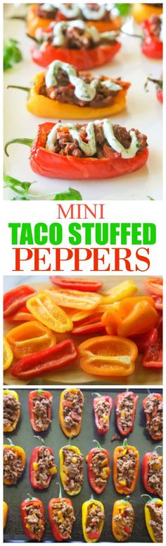 Taco Stuffed Peppers Mini Taco Stuffed Peppers - mini bell peppers stuffed with taco meat and drizzled with a cilantro cream sauce.Mini Taco Stuffed Peppers - mini bell peppers stuffed with taco meat and drizzled with a cilantro cream sauce. Low Carb Recipes, Beef Recipes, Cooking Recipes, Healthy Recipes, Healthy Food, Healthy Appetizers, Appetizer Recipes, Appetizer Ideas, Party Appetizers