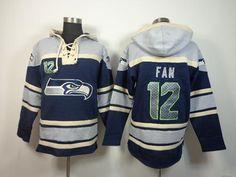 Nike Seahawks #12 Fan Navy Blue Sawyer Hooded Sweatshirt NFL Hoodie XL