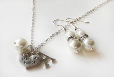 Maid of honor gift bridesmaid pearl necklace by MareWeddingJewelry