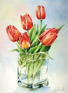 Most up-to-date Cost-Free Ceramics vase plant Thoughts 7 Top Diy Ideas: Skinny Wall Vases glass vases martha stewart. Watercolor Cards, Watercolor Flowers, Watercolor Paintings, Watercolours, Art Floral, Pintura Shabby Chic, Vases Decor, Wall Vases, Diy Centerpieces