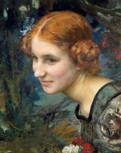 Edgar Maxence (1871-1954). Portrait de jeune fille vers 1900