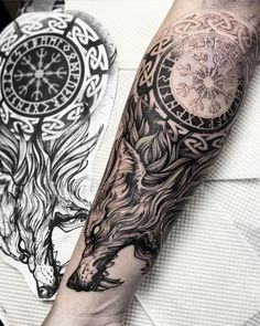 101 Amazing Mjolnir Tattoo Designs You Need To See! Viking Tattoo Sleeve, Wolf Tattoo Sleeve, Tattoo Sleeve Designs, Tattoo Designs Men, Wolf Tattoo Forearm, Irish Tattoo Sleeve, Celtic Sleeve Tattoos, Forearm Sleeve Tattoos, Tattoo Sleeves