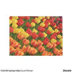 Colorful spring tulips door mat