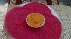 Beetroot Dosa with Chutney