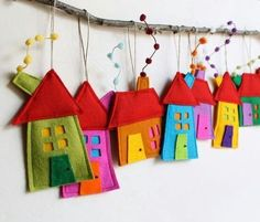 House ornaments Decoration, Set of eight Felt Houses for wall hanging, Christmas ornament gift for everyone, kids wall art, Rainbow colors Christmas house ornament set of eight felt by intres Felt Crafts, Fabric Crafts, Sewing Crafts, Diy And Crafts, Crafts For Kids, Arts And Crafts, House Ornaments, Felt Ornaments, Ornaments Making