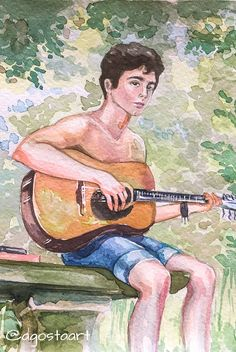 Elio play the gitar. Call Me By Your Name by Luca Guadagnino by Elena Agosta. Name Drawings, Art Drawings Sketches, Cool Drawings, Name Paintings, Canvas Painting Tutorials, Painting & Drawing, Watercolor Paintings, Human Art, Gay Art