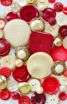 Red and Cream Vintage Buttons