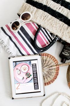 vintage beach accessories and the texture app for iPad / sfgirlbybay Flat Lay Photography, Lifestyle Photography, Summer Flatlay, Beach Wardrobe, All You Magazine, Flatlay Styling, Beach Accessories, Make It Simple, Summertime