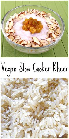 This easy slow cooker kheer is vegan and uses brown rice too!