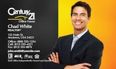 Gold and Black Century 21 Business Card Template. Real Estate Banner, Chad White, Real Estate Business Cards, Corporate Business, Printing Services, Custom Design, 21st, Names, Templates