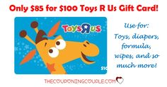 WOOHOO! HOT DEAL on a Toys R Us Gift Card! Only $85 for $100 Gift Card! Perfect for diapers, formula, toys and so much more!  Click the link below to get all of the details ► http://www.thecouponingcouple.com/only-85-for-a-100-toys-r-us-gift-card/ #Coupons #Couponing #CouponCommunity  Visit us at http://www.thecouponingcouple.com for more great posts!