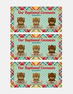 Cutest Idea for a gift/goodie bag.  The Three bears of baptism - Free tags!