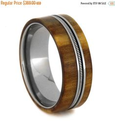 Wedding Sale Wooden Wedding Band With Titanium Inner Sleeve Rowan Wood Ring with Bass String Gift For Musicians