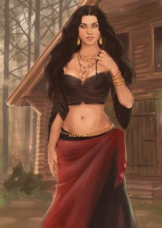 f Sorcerer forest cabin road hills Zahori in the woods Fantasy Women, Fantasy Girl, Fantasy Rpg, Des Femmes D Gitanes, Pin Up, Gypsy Women, Character Portraits, Woman Painting, India Beauty