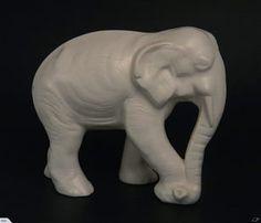 A rare Crown Lynn Elephant moulded figure in an ecru matt glaze, measures 200mm x 80mm. Sold for $360 Sept 2016 White Elephant, Glaze, Porcelain, Auction, Collections, Pottery, Crown, Beautiful, Enamel