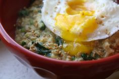 Savory oatmeal, my fave breakfast ( i usually do it with just egg and avocado but the options are endless!)