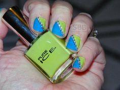 Blue & Green Nails with crystals #nails #nailart #nailblogger #polishlover - bellashoot.com