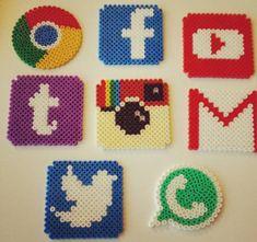 Social network logo coasters hama beads by doetrnietoe Más Easy Perler Bead Patterns, Melty Bead Patterns, Perler Bead Templates, Diy Perler Beads, Perler Bead Art, Beading Patterns, Hama Beads Coasters, Embroidery Patterns, Pearler Beads