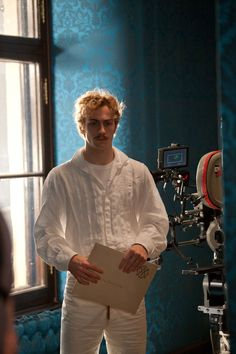 "Aaron Taylor-Johnson (Count Alexei Vronsky) in a candid moment on the set of Anna Karenina"" (2012) His performance in this film was a real tour de force."