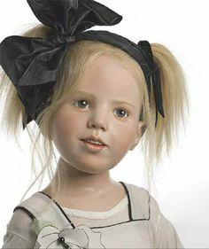 "*HILDEGARD GUNZEL ~ blond human hair, mouth bloown blue-grey eyes, 34"" tall, beautiful collectible museum porcelain wax Robynne Dolls"