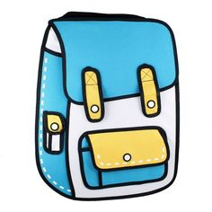 Amazon.com: Funny 3D Cartoon Backpack Bags - Blue: Clothing ($17) ❤ liked on Polyvore featuring bags, backpacks, backpack bags, knapsack bag, blue rucksack, cartoon character backpacks and comic backpack