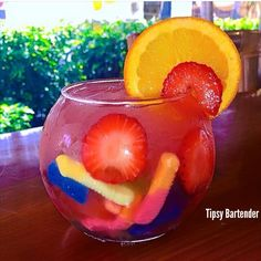 Massive amounts of booze in a fishbowl with drunken gummies - yep! To see how we did it, visit us here: http://www.tipsybartender.com/blog/gummy-booze-fishbowl