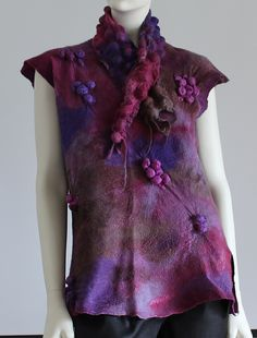 Lilly Pilly Vest & Scarf, Nuno Felt, superfine merino on silk Georgette