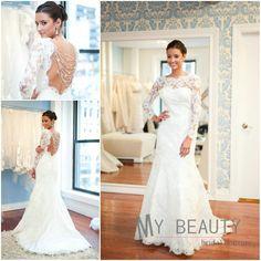 New Fashion Jewel Backless Beaded Lace vestidos de noiva Floor Length Long Sleeve Wedding Dress Mermaid $189.00