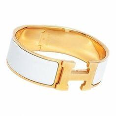 Hermes Enamel Clic Clac H Bangle Bracelet HB1924 White Golden Hardware