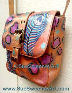 www.SueSweeneyArt... Re-Issued Hand Painted Leather Etienne Aigner Cross-body visit www.Facebook.com/SueSweeneyArt or purchase at www.Etsy.com/SueSweeneyArt