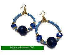 True Blue Crystal Hoop Earrings  Wire Wrapped by KheperaAdornments, $16.00