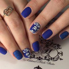 Наше портфолио. Portfolio by KrasotkaPro. #КрасоткаПро #Маникюр #Manicure #Nails #Nailpolish #Ногти #Лак #Синий #Матовый #Узор
