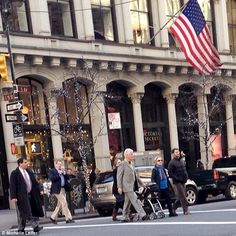 Family scene: The five were spotted walking on Fifth Avenue in New York City - not far fro... Bill And Hillary Clinton, Chelsea Clinton, Baby's Day Out, Days Out, New York Street, New York City, Presidents, Families, Charlotte