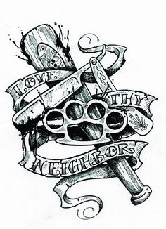 """Love Thy Neighbor""  tattoo original artwork by Charles Wiedman for the film, THE SINNER."