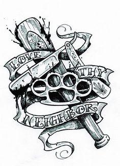 """Love Thy Neighbor""  tattoo original artwork by Charles Wiedman for the film, THE SINNER."