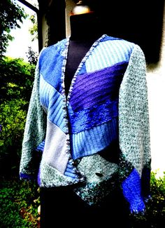 patchwork wool cross over  jacket with handfinishing---one of a kind at Ms. Emma Designs/Toronto