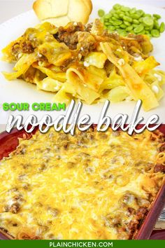 Sour Cream Noodle Bake - ready in under 30 minutes! Egg noodles, hamburger, tomato sauce, cottage cheese, sour cream and cheddar cheese. Comfort food at its best! Everyone loves this easy casserole! Can make ahead of time and refrigerate or freeze for later. YUM! #casserole #pasta #groundbeef #freezermeal Cheesy Chicken Casserole, Casserole Dishes, Casserole Recipes, Beef Recipes, Cooking Recipes, Healthy Recipes, Hamburger Recipes, Healthy Foods, Pasta Dishes