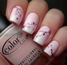 Pink girly flower nails