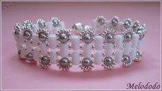 Bracelet Lee de Puca Rulla opaque white sb mr11/0961 sb mr15/0961 Nacree light grey pearl 4 mm