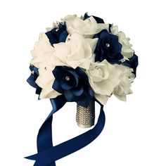Bridal Bouquet - Navy Blue White with Ribbon and Rhinestone - Silk Flower >>> Continue to the product at the image link. (This is an affiliate link) #HomeDecorTips