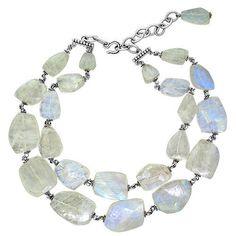 Stephen Dweck Sterling Silver Labradorite Double Strand Necklace