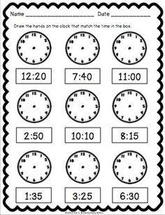Telling Time Pack {Worksheets, Game & Task Cards} by Kim Solis 3rd Grade Math Worksheets, Preschool Worksheets, Teaching Time, Teaching Math, Learning Activities, Time Activities, Second Grade Math, Homeschool Math, Homeschooling